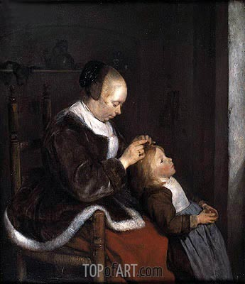 Hunting for Lice (A Mother Combing the Hair of her Child), c.1652/53 | Gerard ter Borch| Gemälde Reproduktion