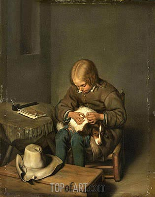 Boy Ridding his Dog of Fleas, 1700 | Gerard ter Borch| Painting Reproduction