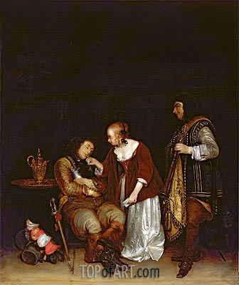 The Sleeping Soldier, c.1656/57 | Gerard ter Borch| Painting Reproduction