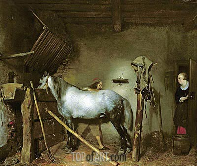 Horse Stable, c.1652/54  | Gerard ter Borch| Painting Reproduction