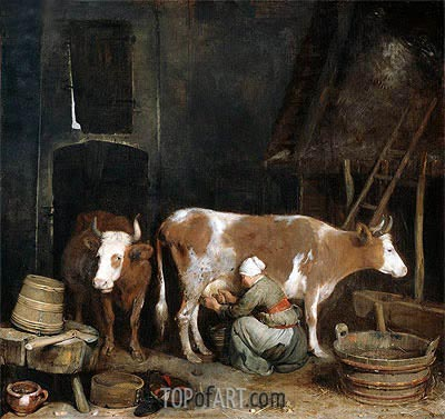 A Maid Milking a Cow in a Barn, c.1652/54  | Gerard ter Borch | Painting Reproduction