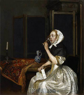 Young Woman with a Glass of Vine,  Holding a Letter in her Hand, c.1665 | Gerard ter Borch| Painting Reproduction
