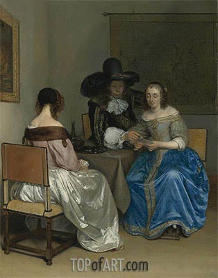 The Card Players, c.1659 | Gerard ter Borch | Painting Reproduction