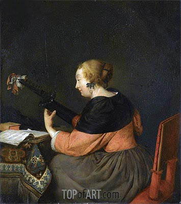 Gerard ter Borch | A Lady Seated at a Table Playing a Lute, c.1657