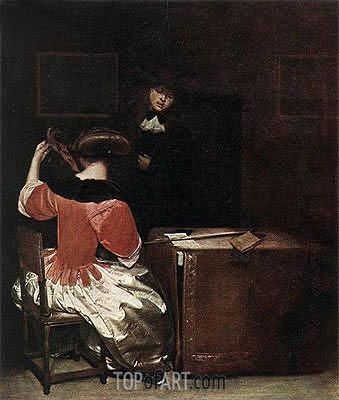 Music Lesson,  | Gerard ter Borch| Gemälde Reproduktion