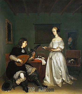 The Duet: Singer and Theorbo-Player, 1669 | Gerard ter Borch | Painting Reproduction