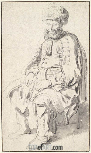 A Seated Man in Middle Eastern Costume, 1646 | Gerbrand van den Eeckhout | Painting Reproduction