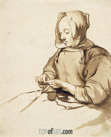 Woman Doing Handwork, c.1655 | Gerbrand van den Eeckhout | Painting Reproduction