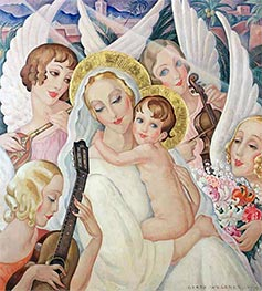 Madonna and Child with Musical Angels, 1935 by Gerda Wegener | Painting Reproduction