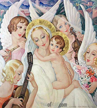 Madonna and Child with Musical Angels, 1935 | Gerda Wegener | Painting Reproduction