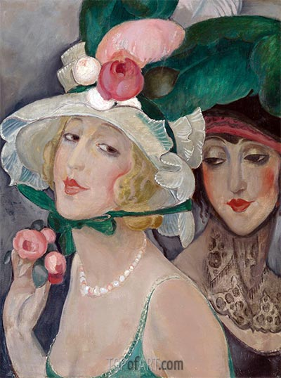 Two Cocottes with Hats (Lili and Friend), c.1925 | Gerda Wegener | Painting Reproduction