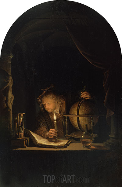 Gerrit Dou | Astronomer by Candlelight, c.1655/59