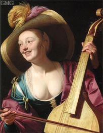 A Young Woman Playing a Viola da Gamba, c.1620 von Gerrit van Honthorst | Gemälde-Reproduktion