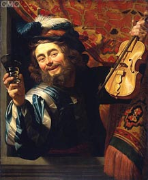 The Merry Fiddler, 1623 by Gerrit van Honthorst | Painting Reproduction