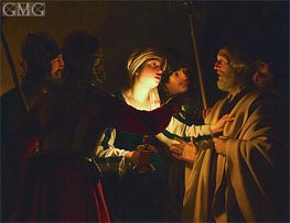 The Denial of St. Peter, c.1623 von Gerrit van Honthorst | Gemälde-Reproduktion