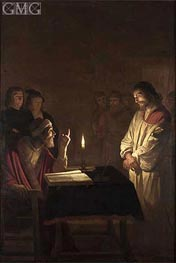 Christ Before the High Priest, c.1617 by Gerrit van Honthorst | Painting Reproduction