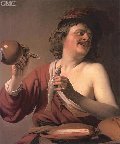 Been Drinker, Pickled Herring, c.1625 | Gerrit van Honthorst | Painting Reproduction