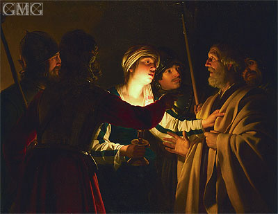 The Denial of St. Peter, c.1623 | Gerrit van Honthorst | Gemälde Reproduktion