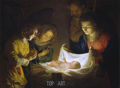 Gerrit van Honthorst | Adoration of the Child, c.1620