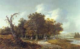 Wooded Landscape with Horseman, c.1660 by Gillis Rombouts | Painting Reproduction