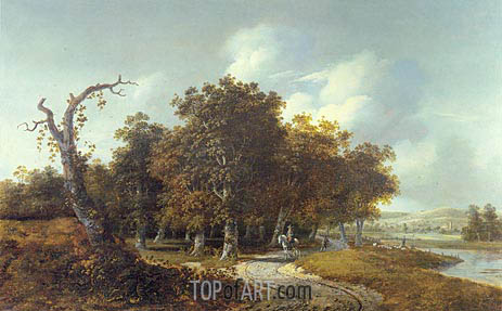 Wooded Landscape with Horseman, c.1660 | Gillis Rombouts | Painting Reproduction