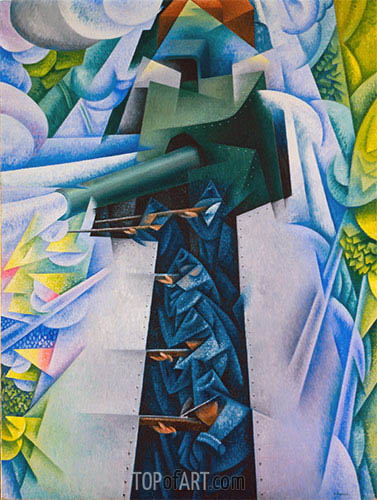 Armored Train in Action, 1915 | Gino Severini | Painting Reproduction