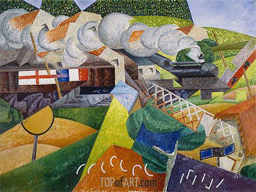 Gino Severini | Red Cross Train Passing a Village, 1915