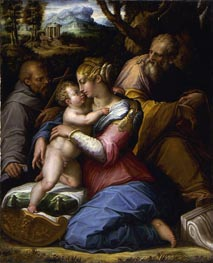 Holy Family with Saint Francis in a Landscape, 1542 by Giorgio Vasari | Painting Reproduction