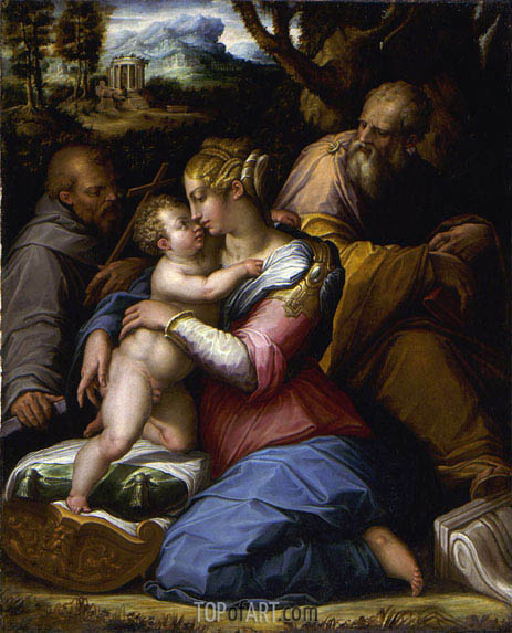 Holy Family with Saint Francis in a Landscape, 1542 | Giorgio Vasari | Gemälde Reproduktion