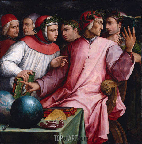 Portrait of Six Tuscan Poets, 1544 | Giorgio Vasari | Painting Reproduction
