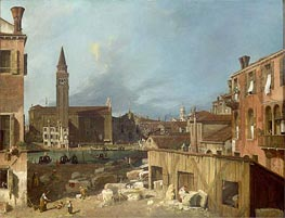 The Stonemason's Yard, c.1725/26 by Canaletto | Painting Reproduction
