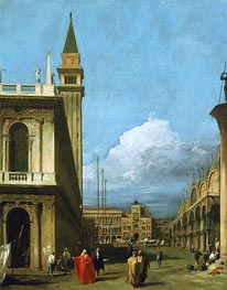 Piazzetta Towards the Torre dell'Orologio, 1730 von Canaletto | Gemälde-Reproduktion