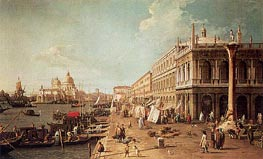 Molo with the Library, Looking Towards the Zecca, b.1740 by Canaletto | Painting Reproduction