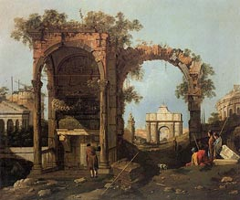 Landscape with Ruins, 1740 by Canaletto | Painting Reproduction