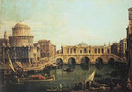 Capriccio of the Grand Canal with an Imaginary Rialto Bridge, 1744 by Canaletto | Painting Reproduction