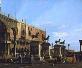 Venice: Caprice view of the Piazzetta with the Horses of St. Marco, c.1743 by Canaletto | Painting Reproduction