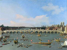 Westminster Bridge, London, With the Lord Mayor's Procession on the Thames | Canaletto | Gemälde Reproduktion