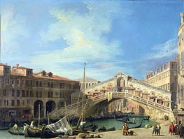 View of the Rialto Bridge at Venice, South | Canaletto | Gemälde Reproduktion