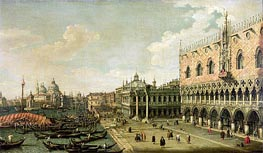 View of the Molo Looking Towards the Entrance of the Grand Canal, Venice, undated von Canaletto | Gemälde-Reproduktion
