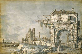 An Imaginary View with a Triumphal Arch, c.1755 von Canaletto | Gemälde-Reproduktion