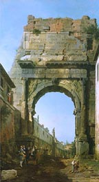 Rome: The Arch of Titus, 1742 by Canaletto | Painting Reproduction
