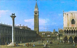 Venice: The Piazzetta towards the Torre dell'Orologio, 1743 by Canaletto | Painting Reproduction