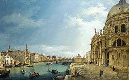 The Grand Canal with St. Maria della Salute towards the Riva degli Schiavoni, 1744 by Canaletto | Painting Reproduction