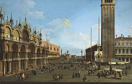 Venice: The Piazza and Piazzetta from the Torre dell'Orologio towards St. Giorgio, 1744 by Canaletto | Painting Reproduction