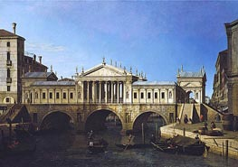 Venice: Caprice View with Palladio's Design for the Rialto, 1744 by Canaletto | Painting Reproduction