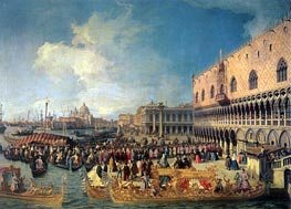 Reception of the Imperial Ambassador at the Doge's Palace, 1729 by Canaletto | Painting Reproduction
