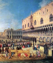 Reception of the Imperial Ambassador at the Doge's Palace (Detail), 1729 by Canaletto | Painting Reproduction