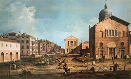 Campo San Giuseppe di Castello and the Chiesa San Niccolo di Castello, c.1735/40 von Canaletto | Gemälde-Reproduktion