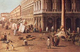 Molo with the Library, Looking Towards the Zecca (Detail) | Canaletto | Painting Reproduction
