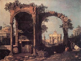 Capriccio: Ruins and Classic Buildings, c.1730 von Canaletto | Gemälde-Reproduktion
